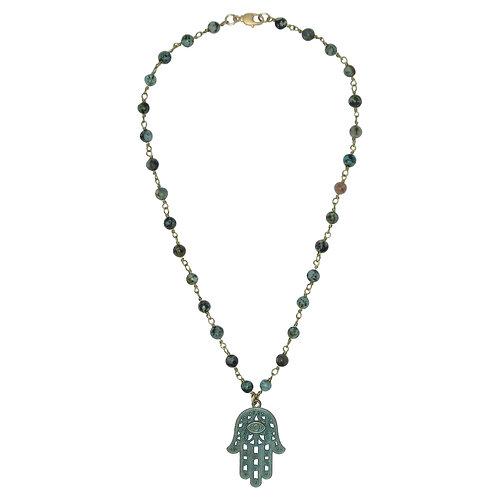 Verdigris Hamsa hand pendant African turquoise beaded chain necklace