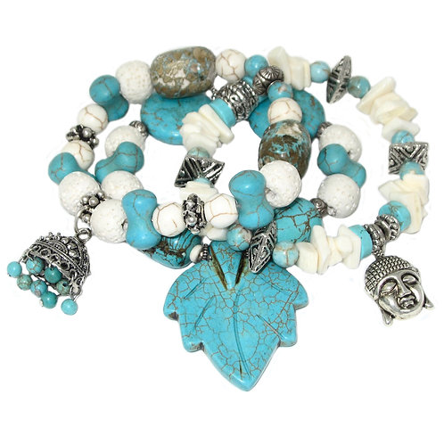 Turquoise howlite, lava stone, and bone beads with charms