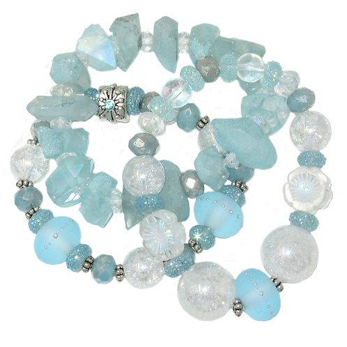 Aqua hand blown glass, quartz crystals, iridescent beads