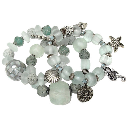 Seafoam African glass, abalone, lava stone beads with sea charms