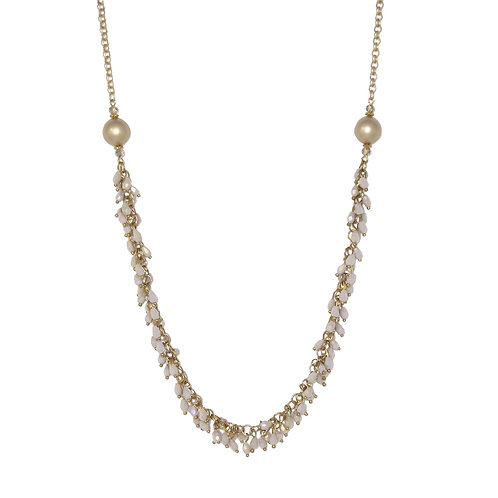 Gold crystal pearl fringed matte gold chain necklace