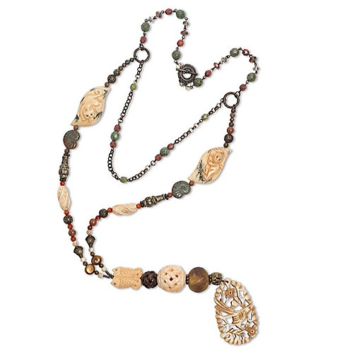 Carved bone beaded pendant mixed bead chain accented necklace