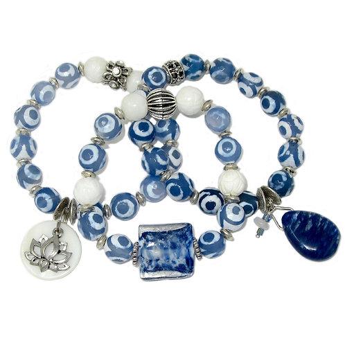 Blue/white DZI agate, carved white shell, lotus charm