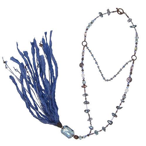 Purple mixed bead sari silk tassel necklace