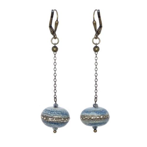 Hand blown glass  drop earrings