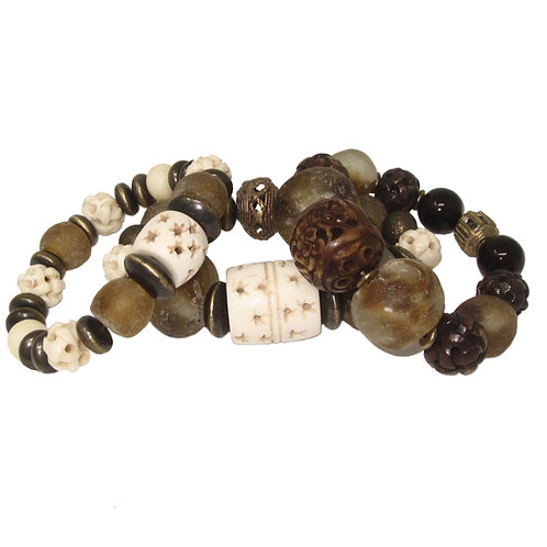 Amber sea glass, carved dyed bone, African brass trade beads