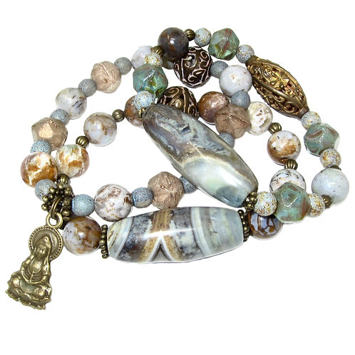 Terra agate, African opal, filigree brass, Czech glass beads, Buddha charm