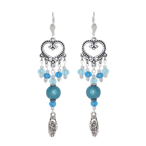 Lotus in Hand drop earrings with turquoise beads on silver chandeliers