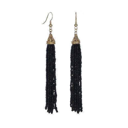 Matte gold filigree black seed bead tassel drop earrings