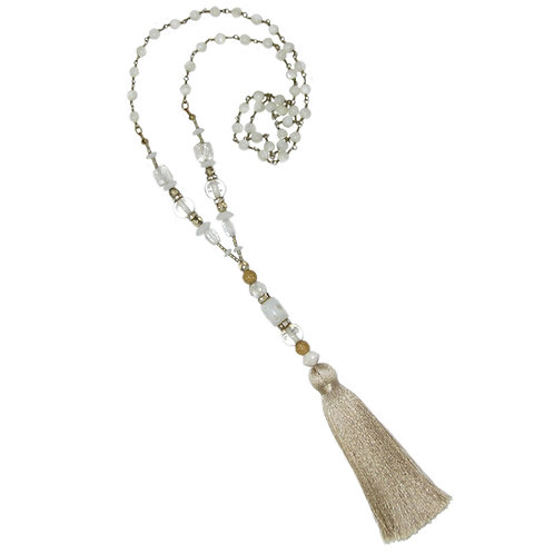 Blown glass/gold bead/white shell beaded chain beige silk tassel necklace