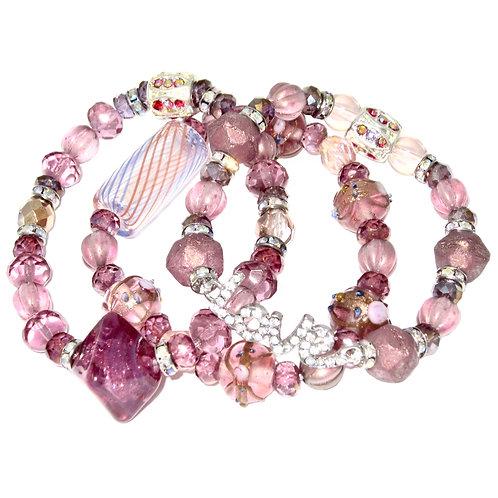 Fuchsia hand blown glass, iridescent beads, pave' rhinestones