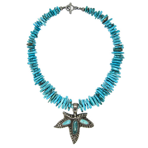 Tibetan antique silver turquoise inlaid leaf pendant chunky stone necklace