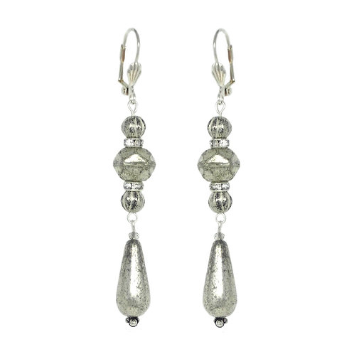 Silver mercury glass rhinestone drop earrings