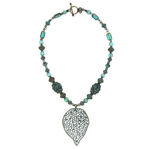 Verdigris filigree leaf pendant mixed bead necklace