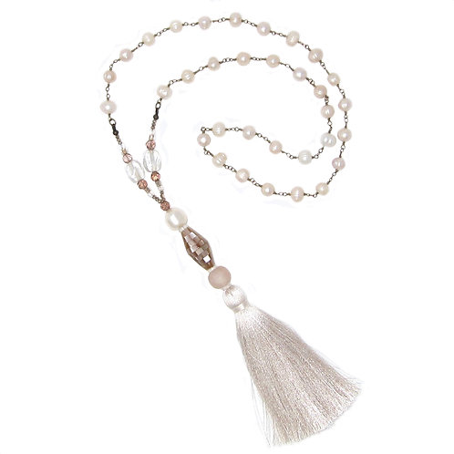 Pink mother of pearl bead/pearl chain tassel necklace