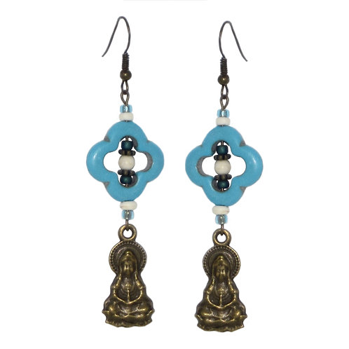 Seated Buddha drop earrings with turquoise open bead