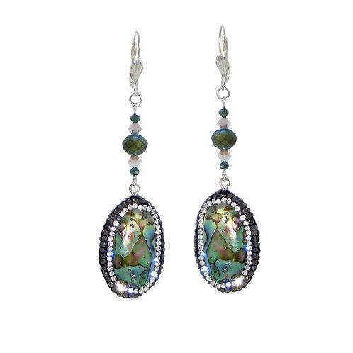 Pave' abalone beaded drop dangle earrings