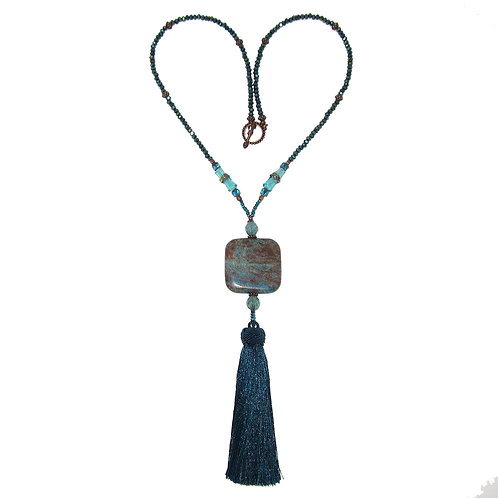 Teal silk tassel beaded long necklace with sky jasper