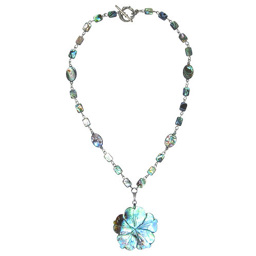 Abalone Hibiscus Flower Pendant on Abalone Chain Necklace