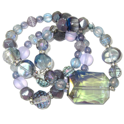 Purple stack of faceted glass, iridescent & frosted beads