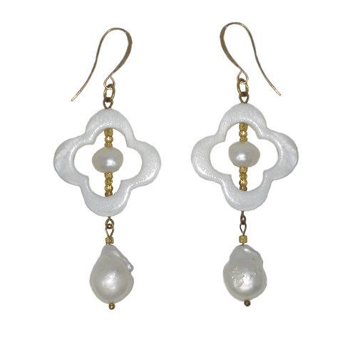 MOP quatrefoil/gold freshwater pearl drop earrings