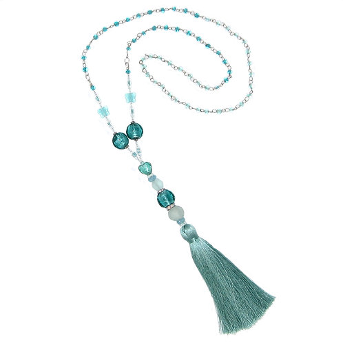 Aqua blown glass bead/glass bead chain tassel necklace