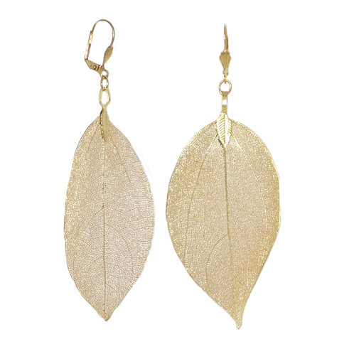 Gold coated real leaf drop earrings
