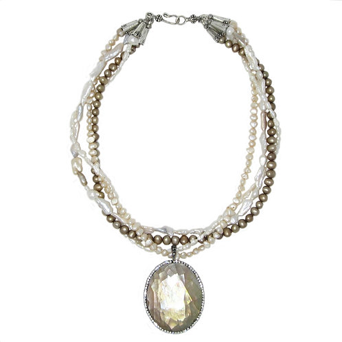 Pave' shell pendant necklace with strands of ivory, cream, coffee natural pearls