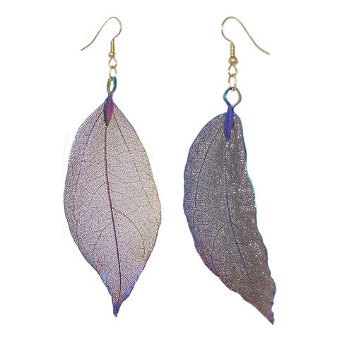 Titanium coated real leaf drop earrings