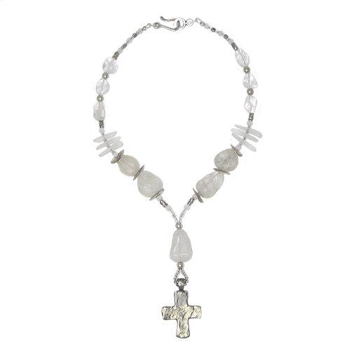 Rustic silver cross, clear quartz and sea glass necklace