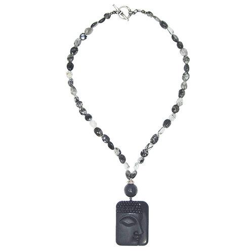 Black onyx Buddha pendant and OM bead with tourmalinated quartz necklace