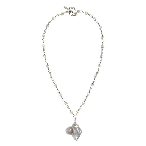 Crystal beaded chain heart shaped pearl pendant necklace