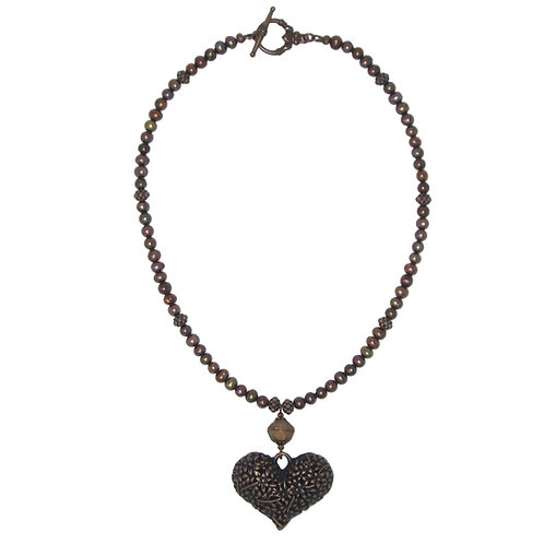 Antique copper filigree heart pendant necklace with rust freshwater pearls