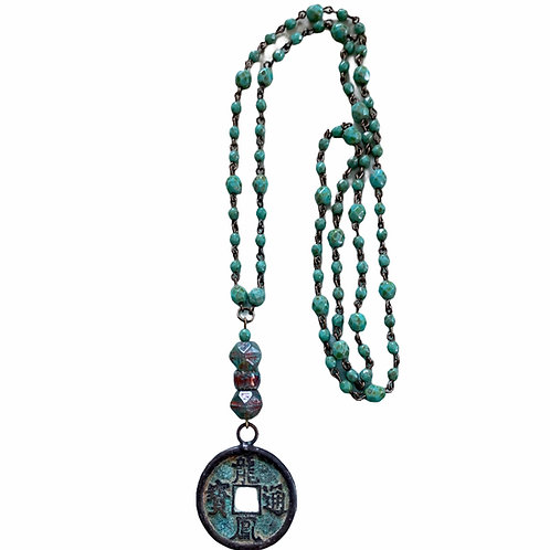 Antique Chinese coin beaded chain necklace