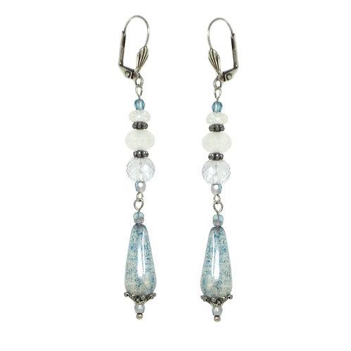 Blue glass iridescent beaded drop earrings