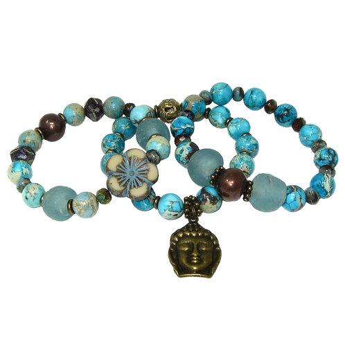 Aqua impression jasper, sea glass, Czech glass flower, Buddha charm