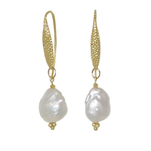 Gold hammered metal leaf and freshwater pearl dangle drop earrings