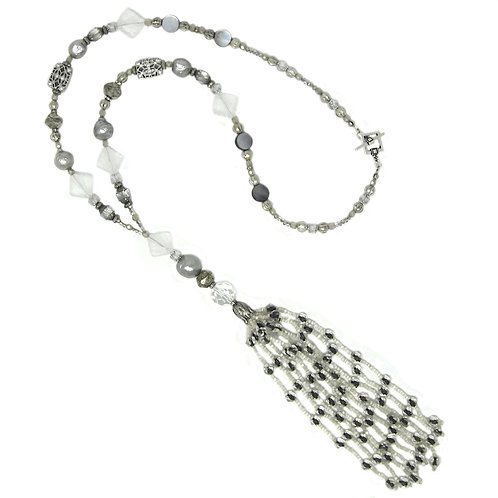 Antique 1920s beaded tassel necklace with mercury beads, pearls, rhinestones