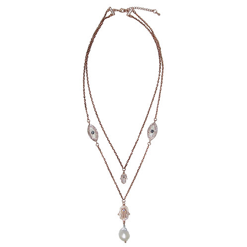 Pave' Rose Gold Double Hamsa Evil Eye Double Chain Necklace