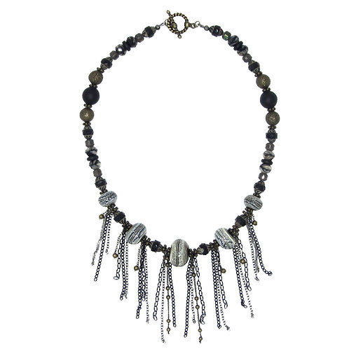 Hand blown lamp work glass, mixed chain fringe collar necklace