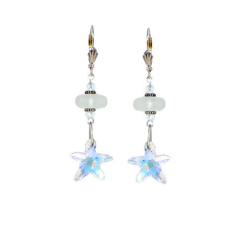 Aurora Borealis Swarovski crystal starfish sea glass drop earrings