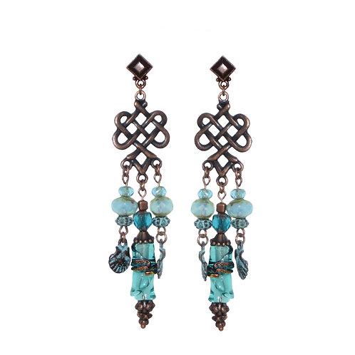 Verdigris/copper/blown glass chandelier earrings