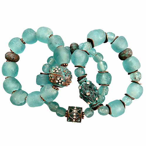 Dark aqua African recycled glass bracelets with pave' patina copper beads