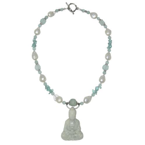 Jade Buddha pendant freshwater pearl mixed bead necklace
