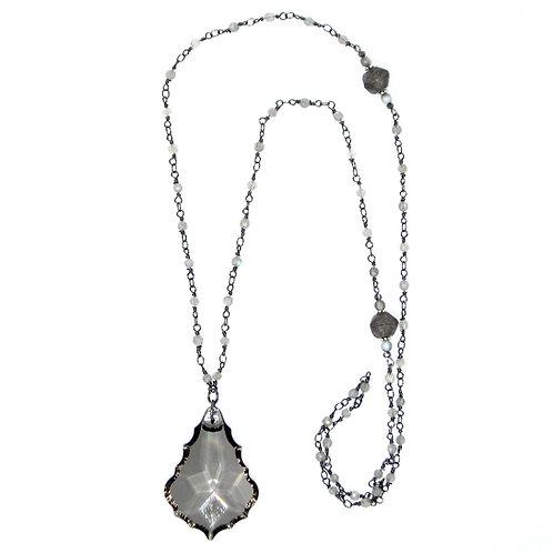 Smoky teardrop chandelier crystal pendant necklace on labradorite beaded