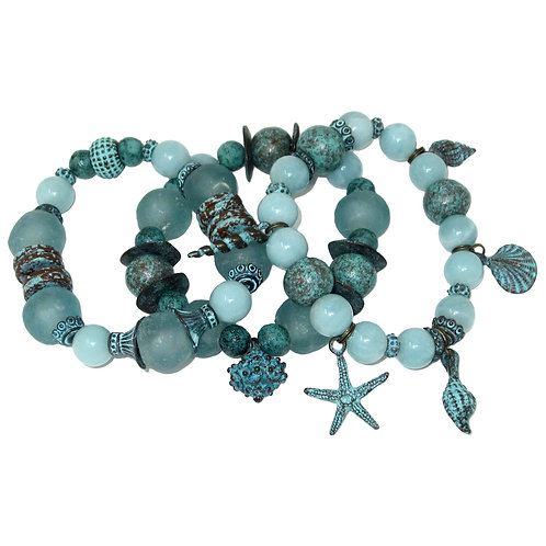 Lt teal African glass, amazonite, patina beads with verdigris sea charms