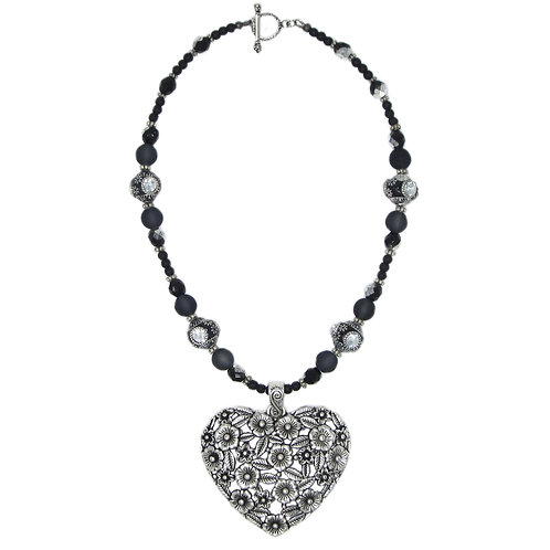 Antique silver filigree heart pendant mixed bead necklace