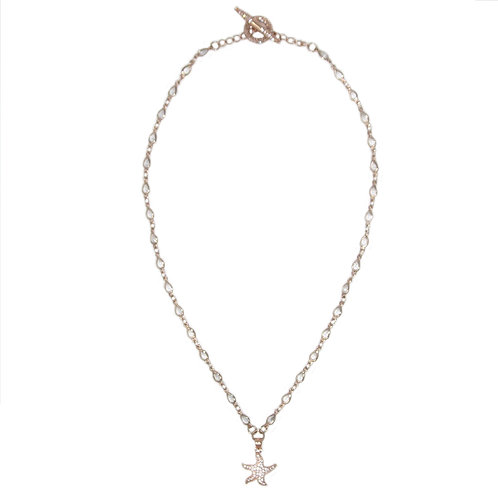 Pave' rose gold starfish pendant necklace on cubic zirconia teardrop chain