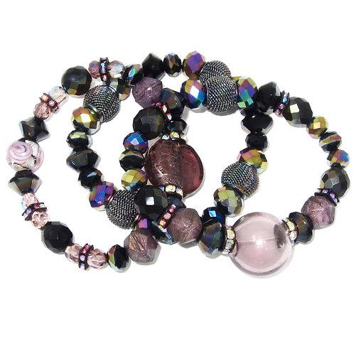 Mauve hand blown glass, Czech glass beads, and iridescent mesh