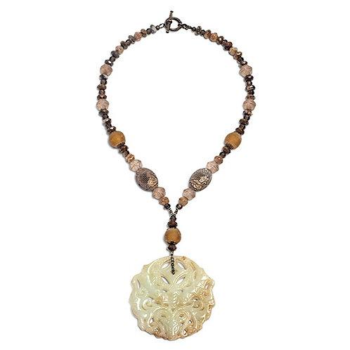 Honey carved jade medallion fire opal, quartz, and sea glass necklace